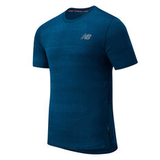 New Balance Mens Q Speed Fuel Jacquard Running Tee Blue S, Blue, rebel_hi-res