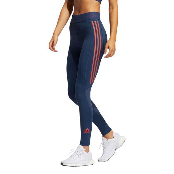 adidas Womens Techfit 3-Stripes Long Tights, Blue, rebel_hi-res