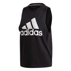 adidas Womens Badge of Sport Cotton Tank Black XS, Black, rebel_hi-res