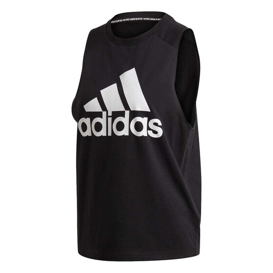 adidas Womens Badge of Sport Cotton Tank, Black, rebel_hi-res