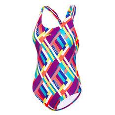 Speedo Womens Coral Reef Leaderback One-Piece Swimsuit Coral 8, Coral, rebel_hi-res