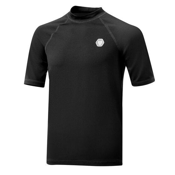 Tahwalhi Boys Short Sleeve Rash Vest, Black/Blue, rebel_hi-res