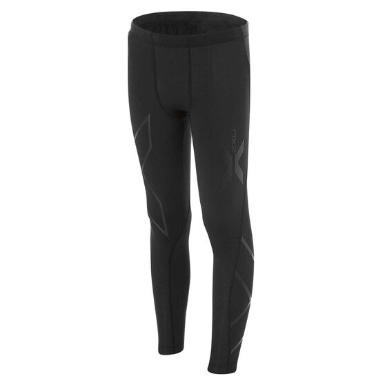 2XU Boys Full Length Compression Tights, Black, rebel_hi-res