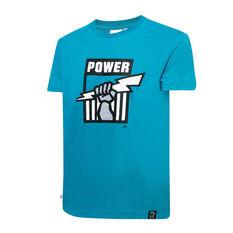 Port Adelaide Mens Supporter Logo Tee Blue S, Blue, rebel_hi-res