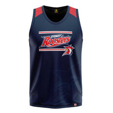 Sydney Roosters Mens Watermark Performance Singlet Navy S, Navy, rebel_hi-res