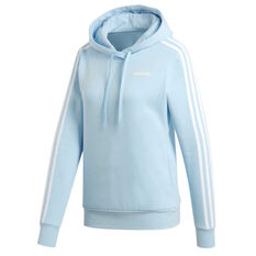 adidas Womens Essentials 3 Stripes Pullover Hoodie Blue XS, Blue, rebel_hi-res