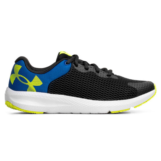 Under Armour Charged Pursuit 2 Kids Running Shoes, Black/White, rebel_hi-res