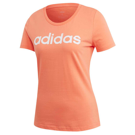 adidas Womens Brush Effect Logo Graphic Tee, Coral, rebel_hi-res