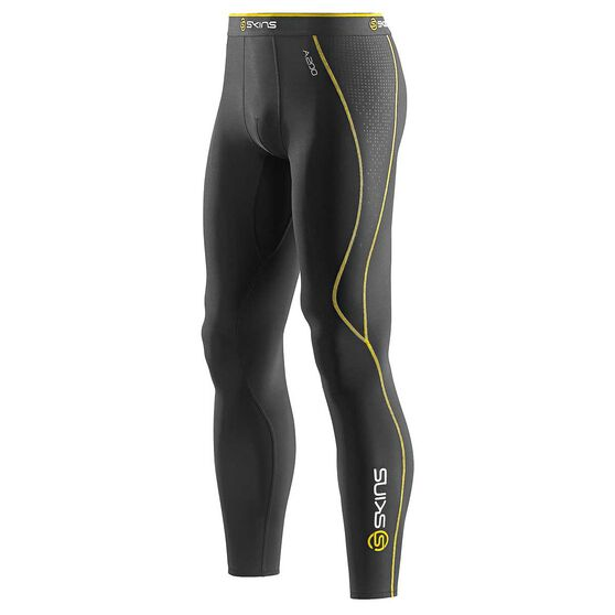 39136893f60f5 Skins A200 Mens Thermal Compression Long Tights Black / Yellow XS, Black /  Yellow,