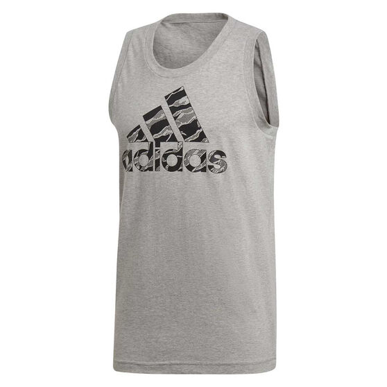 adidas Mens Badge of Sport Camo Tank, Grey, rebel_hi-res