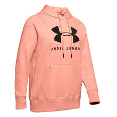 Under Armour Womens Rival Fleece Graphic Hoodie Pink XS, Pink, rebel_hi-res