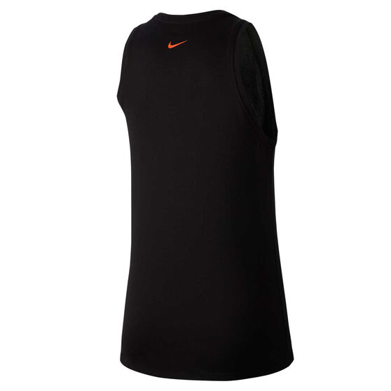 Nike Womens Dri FIT Graphic Training Tank, Black, rebel_hi-res