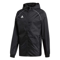 adidas Mens Core 18 Rain Jacket Black / White XS, Black / White, rebel_hi-res