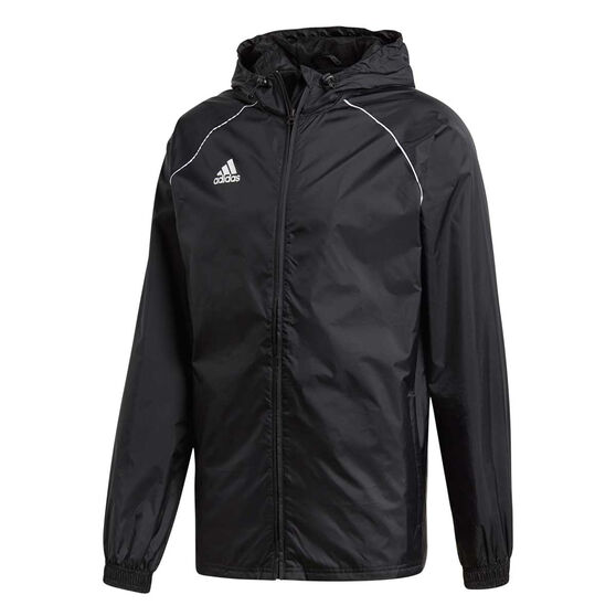 adidas Mens Core 18 Rain Jacket, Black / White, rebel_hi-res