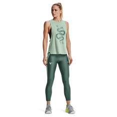 Under Armour Womens Project Rock 7/8 Tights, Green, rebel_hi-res