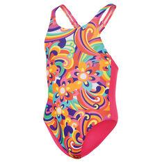 Speedo Girls Swirl Medalist Swimsuit Pink 2, Pink, rebel_hi-res