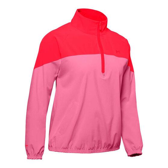 Under Armour Womens Woven Anorak Half Zip Jacket, Pink / Red, rebel_hi-res