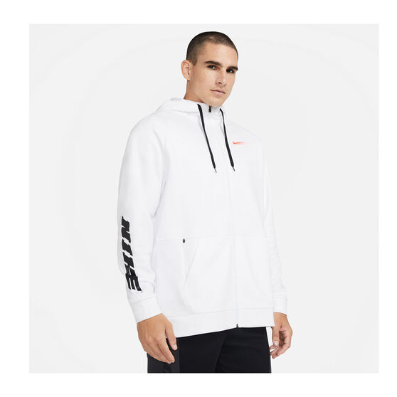 Nike Mens Therma Clash Clash Full-Zip Hoodie, White, rebel_hi-res