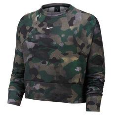Nike Womens Dri FIT Fleece Camo Training Sweatshirt Camo XS, Camo, rebel_hi-res