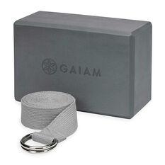 Gaiam Yoga Block And Strap Combo Grey, , rebel_hi-res