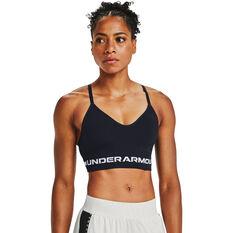 Under Armour Womens Seamless Low Long Sports Bra, Black, rebel_hi-res