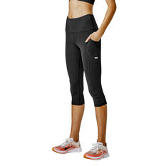 Running Bare Womens Ab Waisted Power Moves 3/4 Tights Black 8, Black, rebel_hi-res