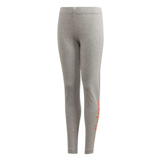 adidas Girls Essentials Linear Tights, Grey / Coral, rebel_hi-res