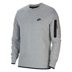 Nike Mens Sportswear Tech Fleece Crew Sweatshirt Grey/Black XS, Grey/Black, rebel_hi-res