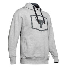 Under Armour Mens Project Rock Warmup Hoodie Grey S, Grey, rebel_hi-res