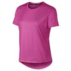 best service 2e527 33d4c Nike Womens Miler Running Tee Fuschia XS, Fuschia, rebel hi-res