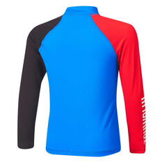Tahwalhi Boys Shark Bait Long Sleeve Rash Vest Blue/Red 3, Blue/Red, rebel_hi-res