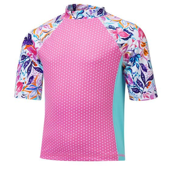 Tahwalhi Toddler Girls Crayon Colourbook Rash Vest, Pink / Blue, rebel_hi-res