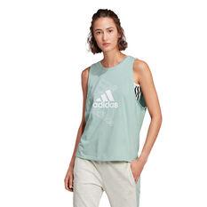adidas Womens Essentials Stacked Logo Tank Green XS, Green, rebel_hi-res