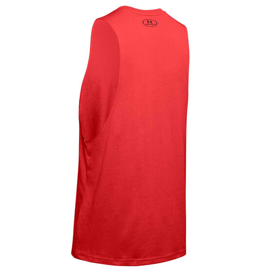 Under Armour Mens Sportstyle Left Chest Cut Off Tank, Red, rebel_hi-res