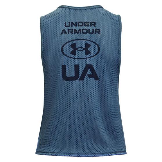 Under Armour Womens HeatGear Mesh Muscle Tank, Blue, rebel_hi-res