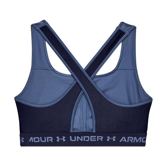 Under Armour Womens Mid Crossback Matte Shine Sports Bra, Blue, rebel_hi-res