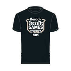 Reebok Mens CrossFit Games Open Crest Tee Black XS, Black, rebel_hi-res