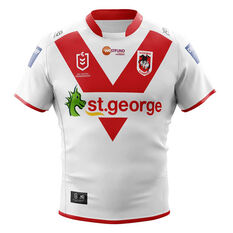 St George Illawarra Dragons 2020 Kids Home Jersey White/Red 8, White/Red, rebel_hi-res