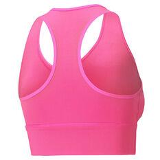 Puma Womens Mid-Impact Long Line Sports Bra Pink XS, Pink, rebel_hi-res