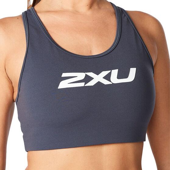 2XU Womens Motion Racerback Sports Bra, Grey, rebel_hi-res