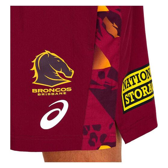 Brisbane Broncos 2021 Mens Training Shorts, Maroon, rebel_hi-res