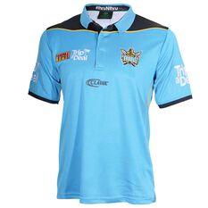 Gold Coast Titans 2018 Mens Training Polo Shirt Cyan S, Cyan, rebel_hi-res