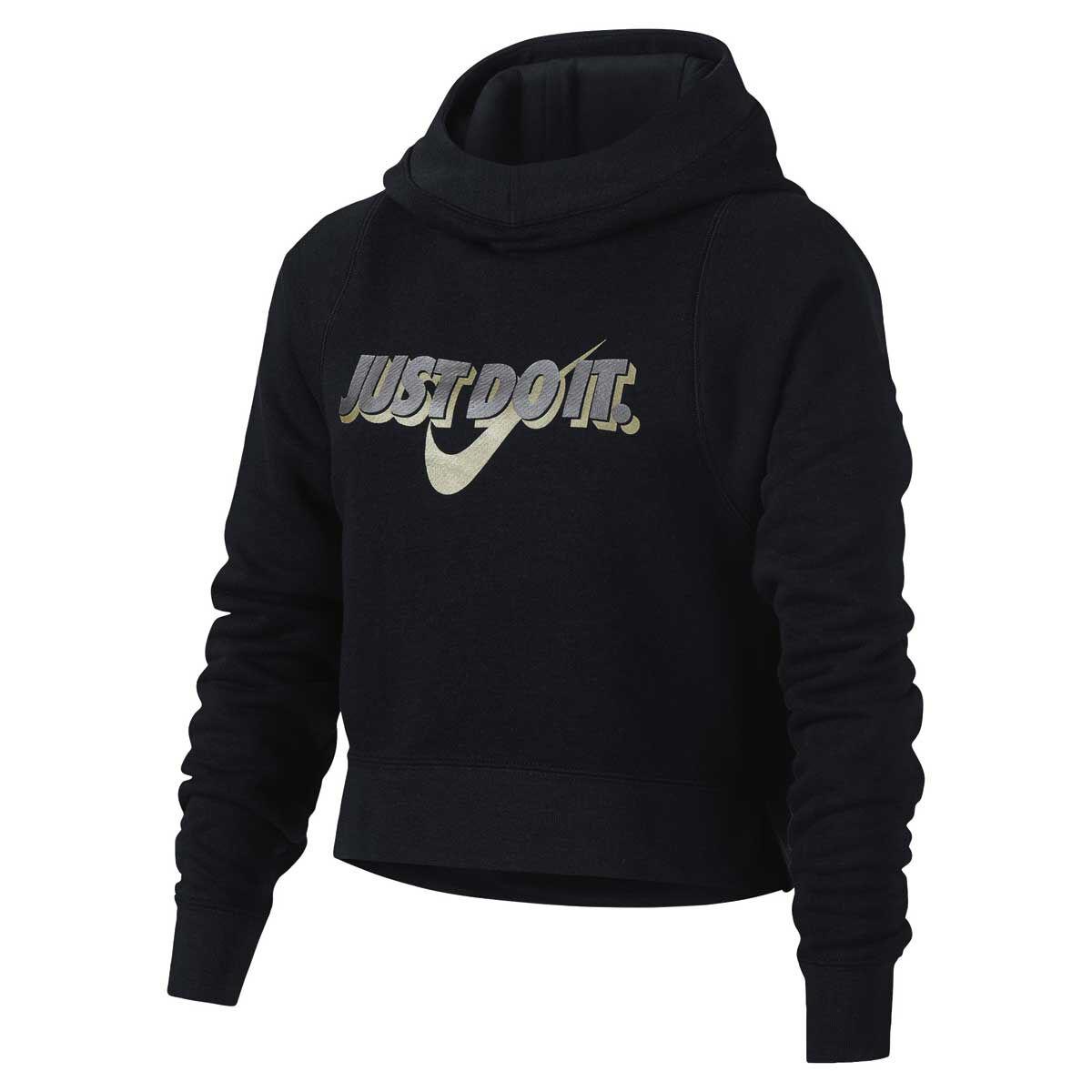 Nike Girls Sportswear Crop Hoodie Black M