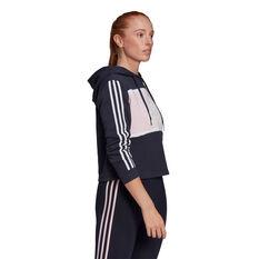 adidas Womens Essentials Logo Colourblock Cropped Hoodie, Navy, rebel_hi-res