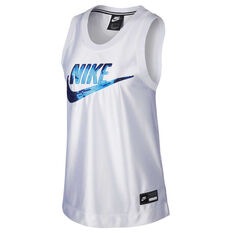 Nike Womens Sportswear Glam Dunk Tank White XS, White, rebel_hi-res