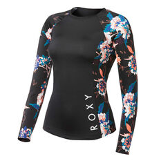 Roxy Womens Fitness Long Sleeve Rash Vest Black XS, Black, rebel_hi-res