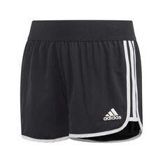 adidas Girls Training Shorts Black / White 6, Black / White, rebel_hi-res