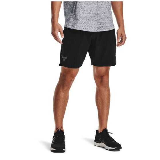 Under Armour Mens Project Rock Woven Shorts, Black, rebel_hi-res