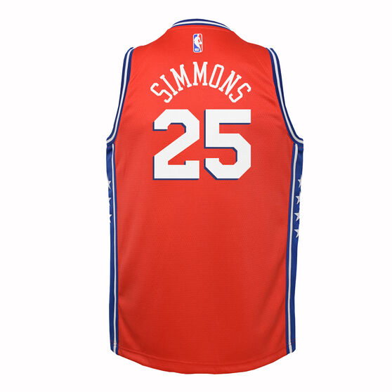 Nike Philadelphia 76ers Ben Simmons 2019/20 Kids Statement Edition Swingman Jersey, Red / Blue, rebel_hi-res