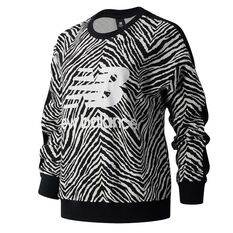New Balance Womens Athletics Animal Print Crew Sweatshirt White XS, , rebel_hi-res